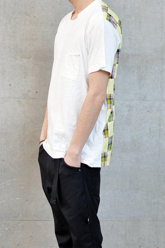 【6周年感謝祭 50%off!】'Conti - コンマコンティ Patchwork Cut Back T-Shirt / イエローチェック