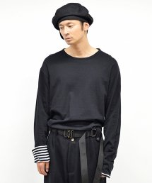 dirtytoy(ダーティートイ)Boarder & Plane Reversible Long Sleeve / White × Black