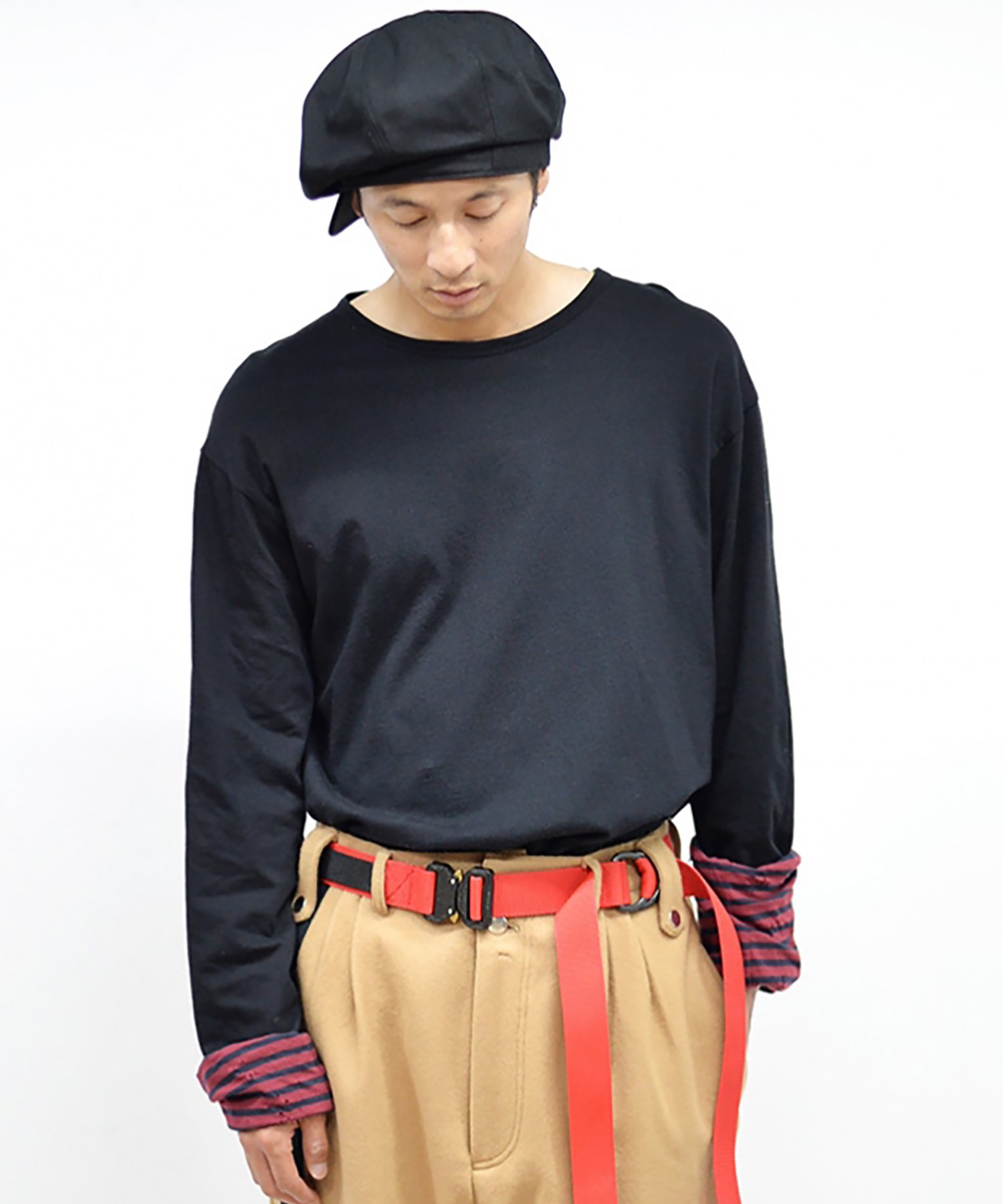 dirtytoy(ダーティートイ)Boarder & Plane Reversible Long Sleeve / Red × Deep Navy