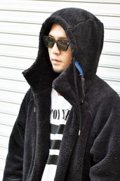 dirtytoy(ダーティートイ)Masked Boa Zip Up Hoodie / Black