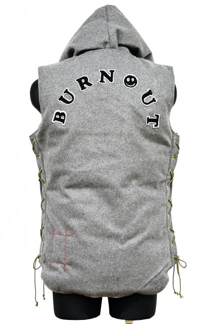 Burnout(バーンアウト)メルトン デタッチャブル フーディーダウンベスト / グレー<img class='new_mark_img2' src='//img.shop-pro.jp/img/new/icons5.gif' style='border:none;display:inline;margin:0px;padding:0px;width:auto;' />