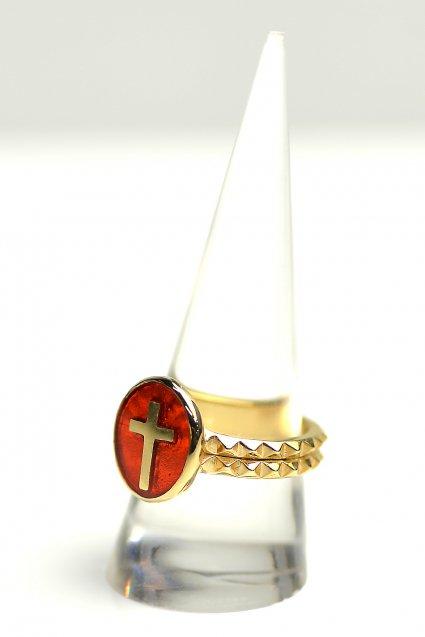 ★受注生産予約 SAHRIVAR(シャフリーヴァル)Enameled Cross Medai Ring (18K on Brass)
