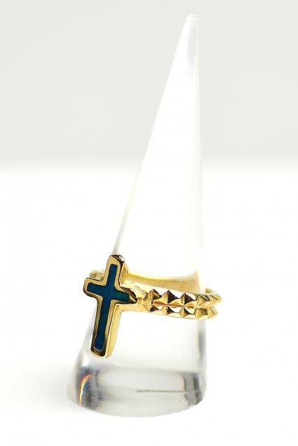 ★受注生産予約 SAHRIVAR(シャフリーヴァル)Enameled Chiceled Cross Ring (18K on Brass)