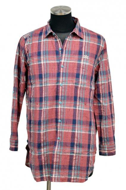 Burnout(バーンアウト)サイドポケット ロングシャツ / レッドチェック
