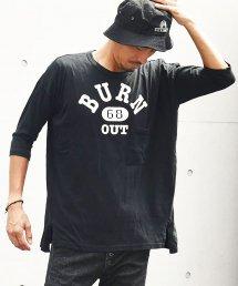 20%off! Burnout(バーンアウト)ドロップショルダー 3/4 スリーブ ポケットTシャツ / ブラック