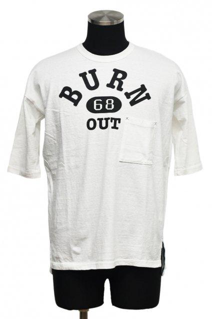 20%off! Burnout(バーンアウト)ドロップショルダー 3/4 スリーブ ポケットTシャツ / ホワイト