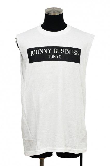 JOHNNY BUSINESS(ジョニービジネス ) Box Logo Cut Off T-SH. / White