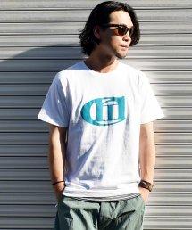 'Conti(コンマコンティ)Logo T-SHIRT / ホワイト×ブルーグリーン