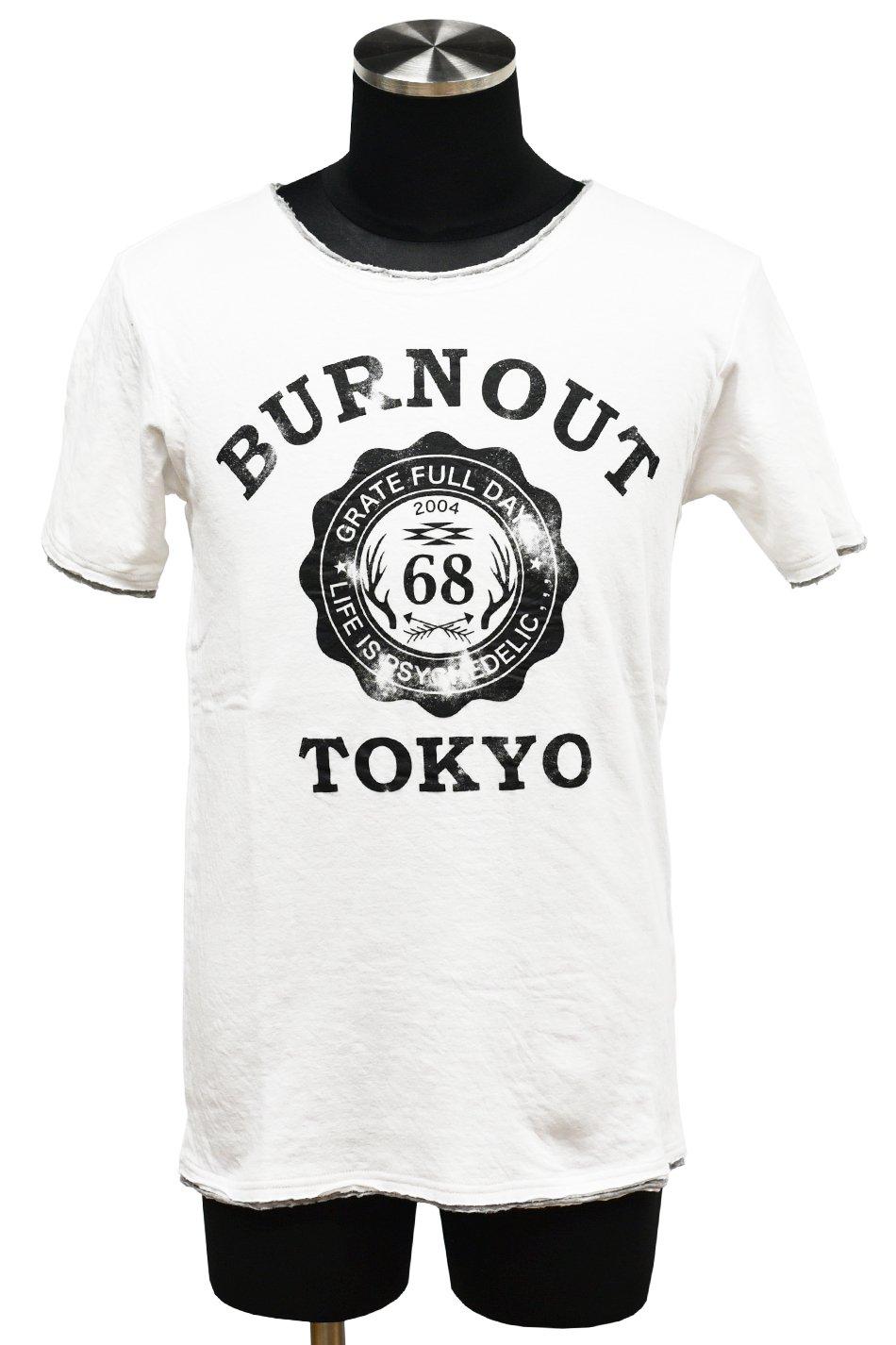 20%off! BURNOUT(バーンアウト )接結天竺 カットオフ BURNOUT COLLEGE Tシャツ / ホワイト