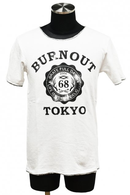 BURNOUT(バーンアウト )接結天竺 カットオフ BURNOUT COLLEGE Tシャツ / ホワイト<img class='new_mark_img2' src='//img.shop-pro.jp/img/new/icons5.gif' style='border:none;display:inline;margin:0px;padding:0px;width:auto;' />