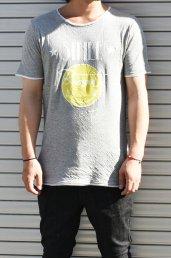 10%off! BURNOUT(バーンアウト )接結天竺 カットオフ SMILE Tシャツ / 杢グレー