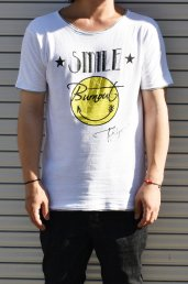 30%off! BURNOUT(バーンアウト )接結天竺 カットオフ SMILE Tシャツ / ホワイト