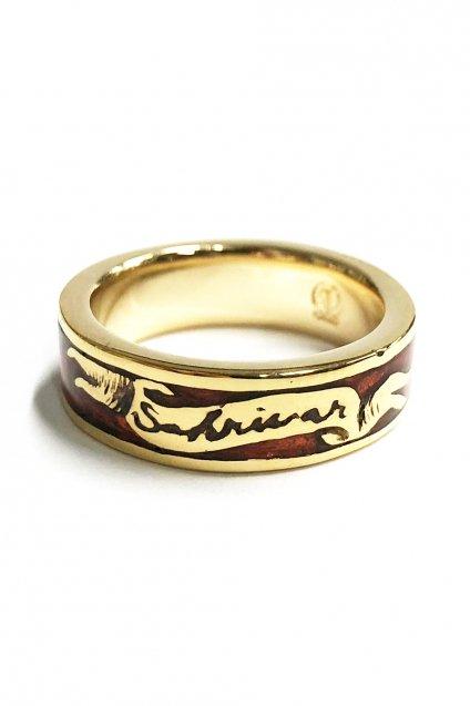 ☆在庫あり SAHRIVAR(シャフリーヴァル)Enameled Ring(Brass×18K Plating)/ エナメルRED