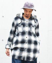 BURNOUT(バーンアウト )フードファー L/S シャツ / ブラックチェック