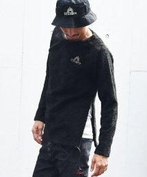 BURNOUT(バーンアウト )ライトボア スリットラグラン プルオーバー / ブラック