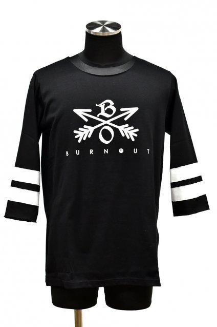Burnout(バーンアウト)Crossed Arrows 3/4 スリーブ ヘビーウェイトTシャツ / ブラック