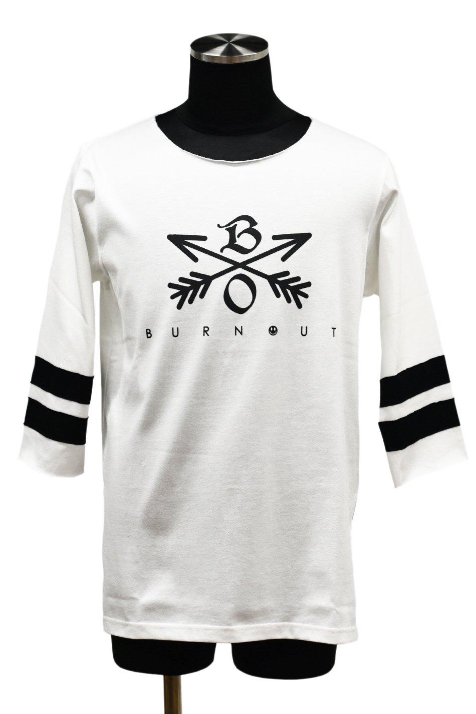 Burnout(バーンアウト)Crossed Arrows 3/4 スリーブ ヘビーウェイトTシャツ / ホワイト