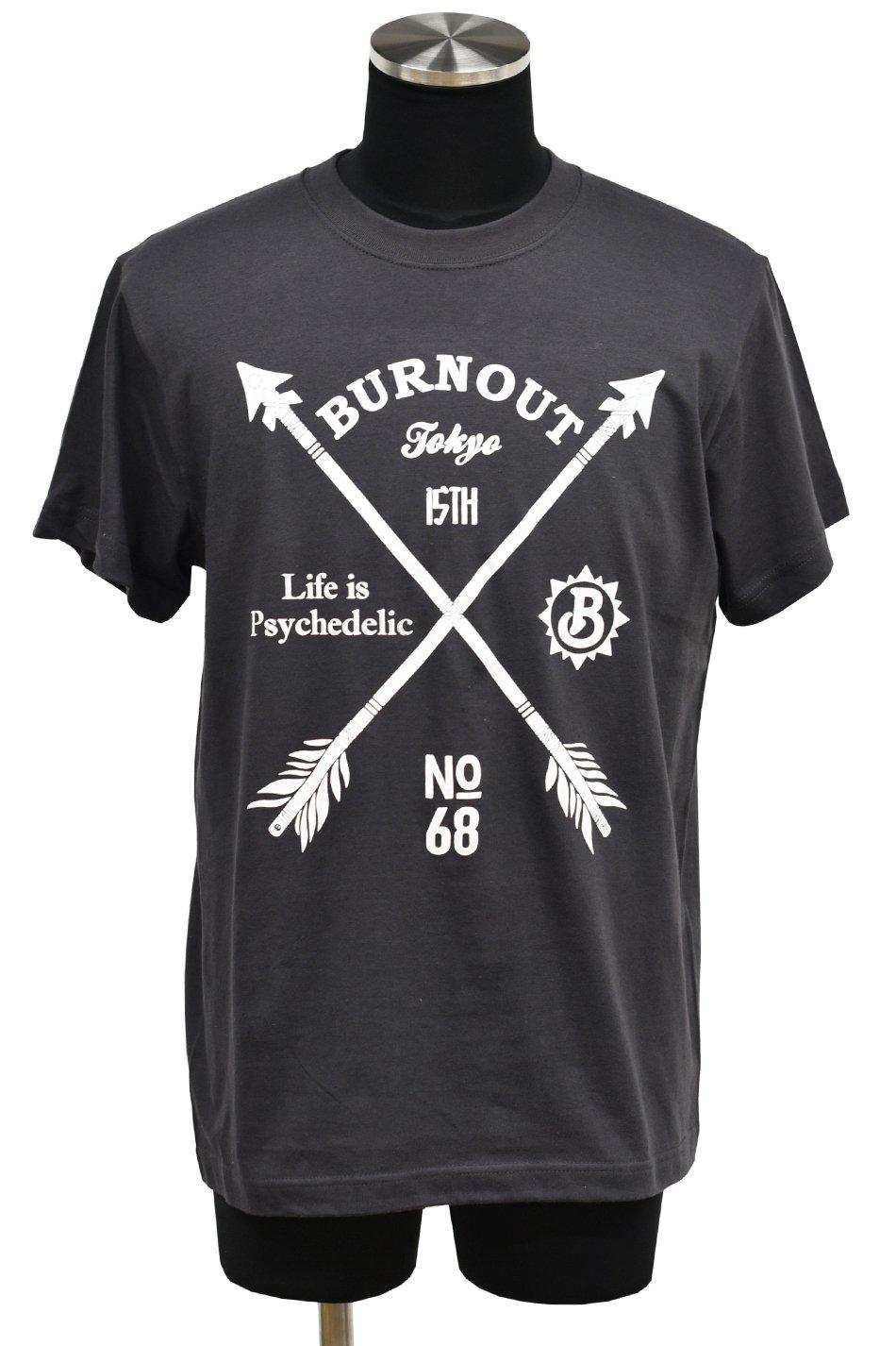 ☆在庫限り Burnout - バーンアウト 15th Anniversary Crossed Arrows T-Shirt / SUMI Black