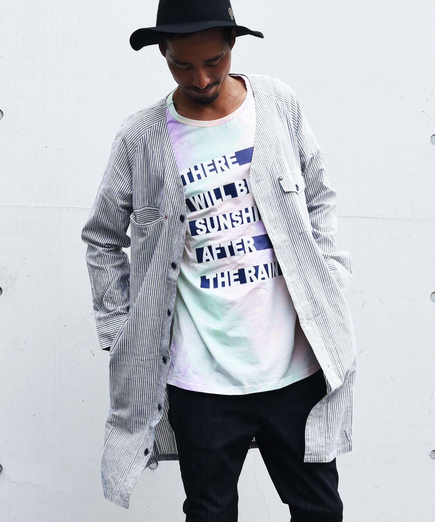 25%off! BURNOUT(バーンアウト )ストライプ ロングカーゴシャツ