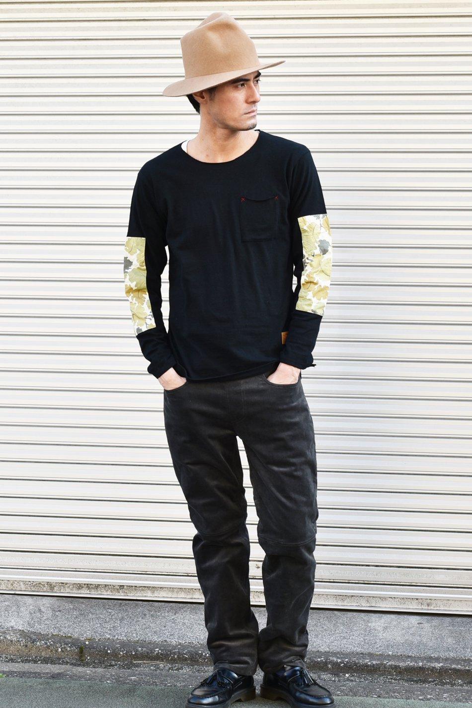 5%off! BURNOUT(バーンアウト )エルボーパッチ ロングスリーブポケット Tシャツ / ブラック