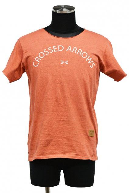5%off! BURNOUT(バーンアウト )『CROSSED ARROWS』ラフィー天竺 カットオフTシャツ / ブロンズレッド