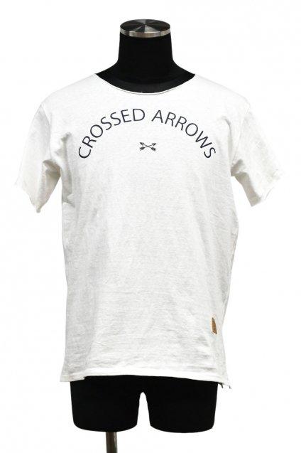 5%off! BURNOUT(バーンアウト )『CROSSED ARROWS』ラフィー天竺 カットオフTシャツ / ホワイト