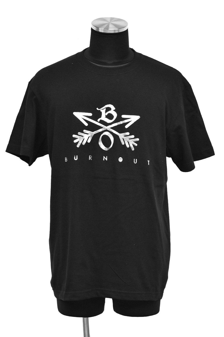Burnout(バーンアウト) Crossed Arrows T-Shirt 2019 / ブラック×銀箔