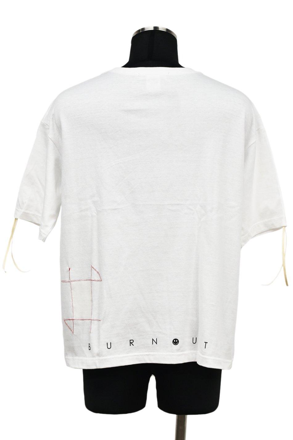 Burnout(バーンアウト)【BURNOUT】ビッグシルエット フリンジTシャツ / ホワイト