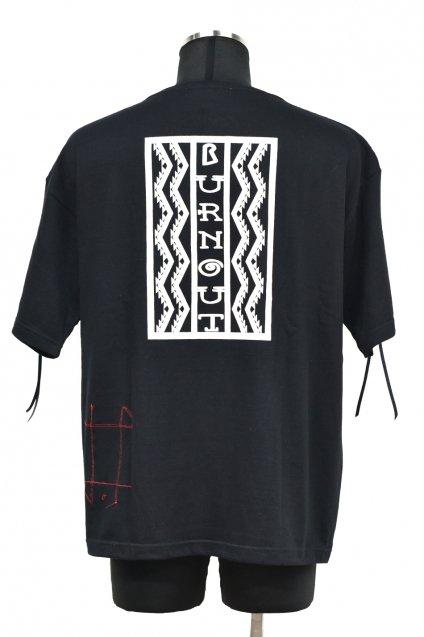 Burnout(バーンアウト)【Lightning box pattern】ビッグシルエット フリンジTシャツ / ブラック