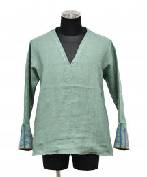 ARIGATO FAKKYU - アリガトファッキュ LINEN V-NECK PULL OVER / SAX GREEN