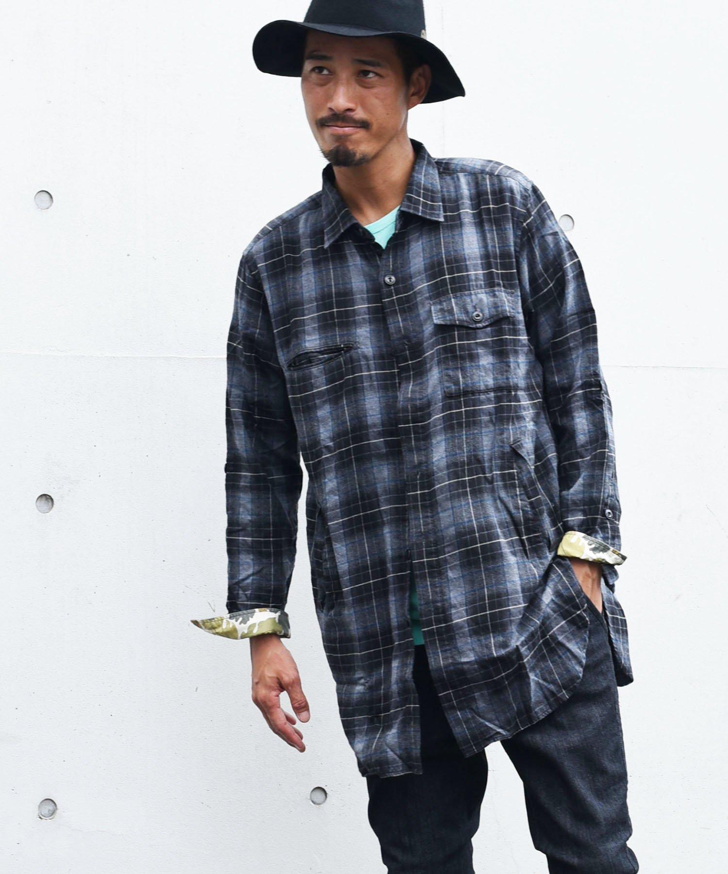 BURNOUT(バーンアウト )サイドポケット付き セミロングシャツ / ブラック