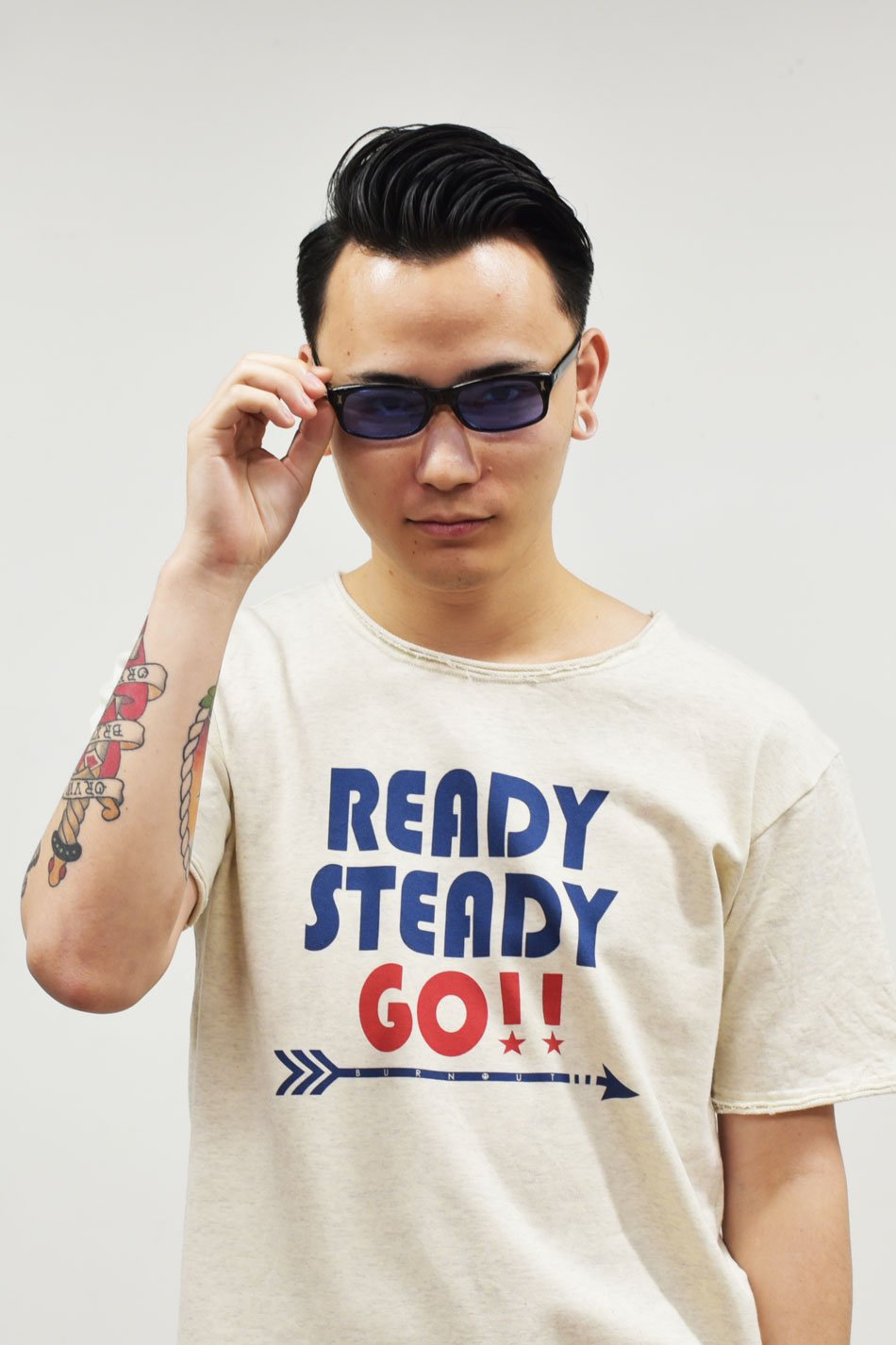 BURNOUT(バーンアウト )【READY STEADY GO !! 】ショートスリーブカットソー / オートミール