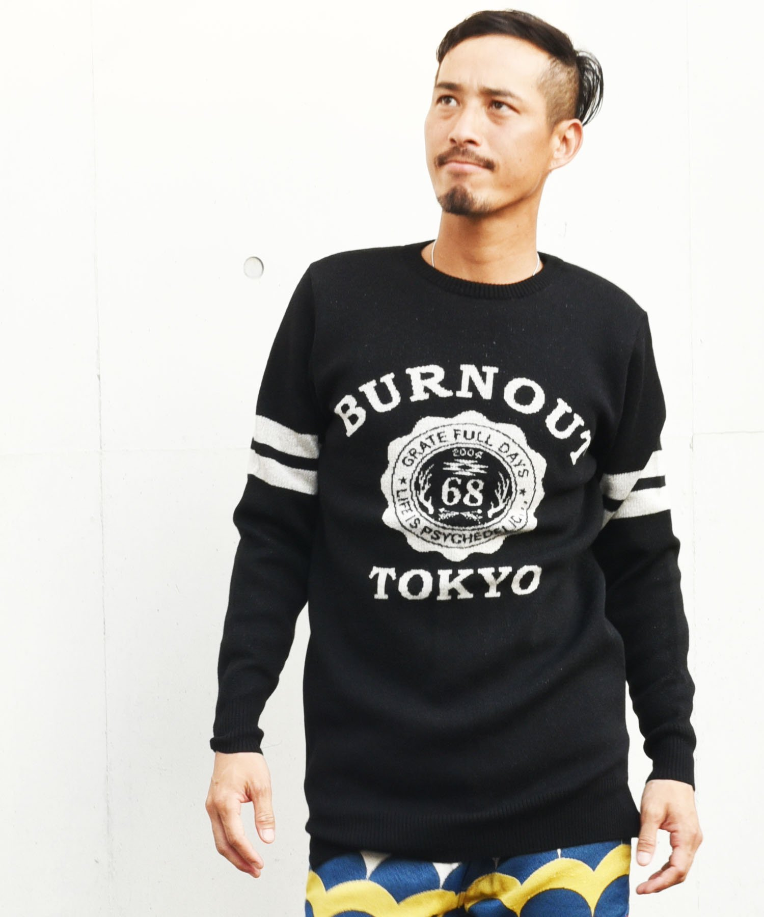 Burnout(バーンアウト)【BURNOUT COLLEGE】Jacquard Long Knit / ブラック<img class='new_mark_img2' src='https://img.shop-pro.jp/img/new/icons5.gif' style='border:none;display:inline;margin:0px;padding:0px;width:auto;' />