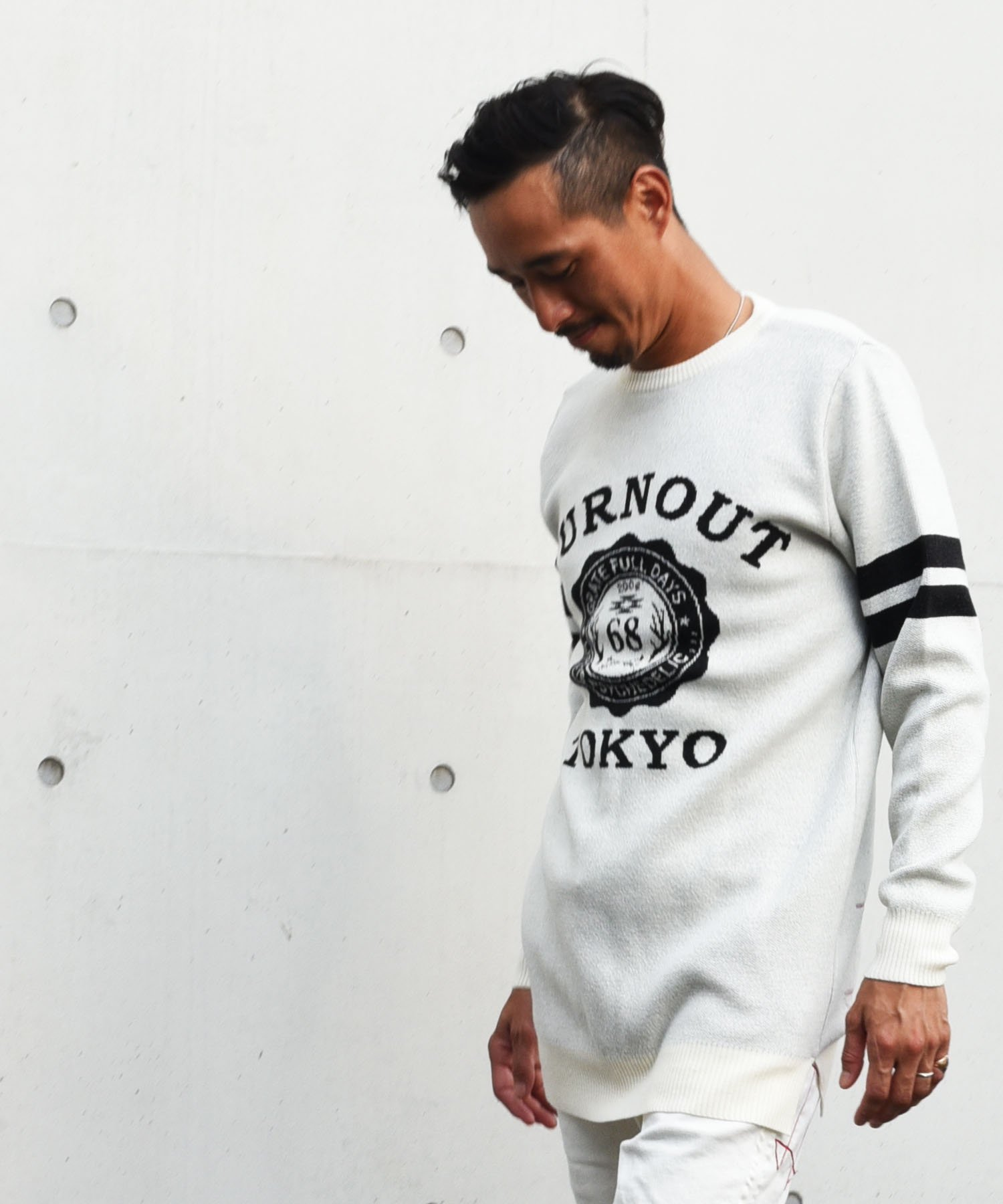 Burnout(バーンアウト)【BURNOUT COLLEGE】Jacquard Long Knit / フェザーグレー<img class='new_mark_img2' src='https://img.shop-pro.jp/img/new/icons5.gif' style='border:none;display:inline;margin:0px;padding:0px;width:auto;' />