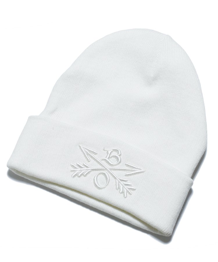 BURNOUT(バーンアウト )Crossed Arrows Knit Cap / White