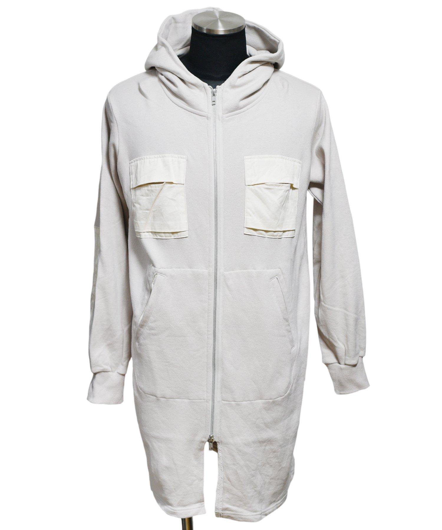 BURNOUT(バーンアウト )セミロング 胸ポケ付きジップパーカー / オイスターホワイト