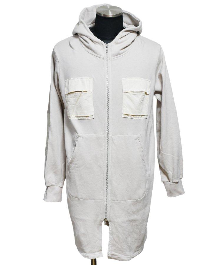 40%off! BURNOUT(バーンアウト )セミロング 胸ポケ付きジップパーカー / オイスターホワイト
