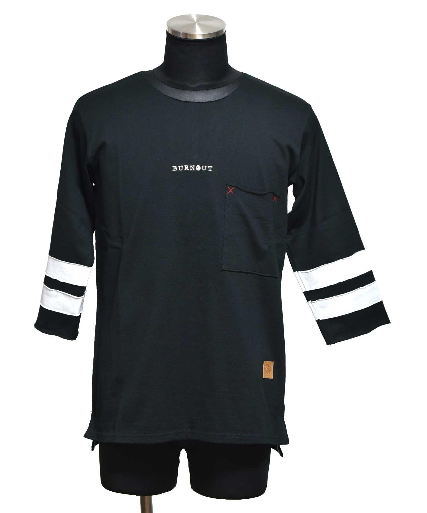 BURNOUT(バーンアウト )ポケット付き 4/3スリーブ フットボール T / ブラック