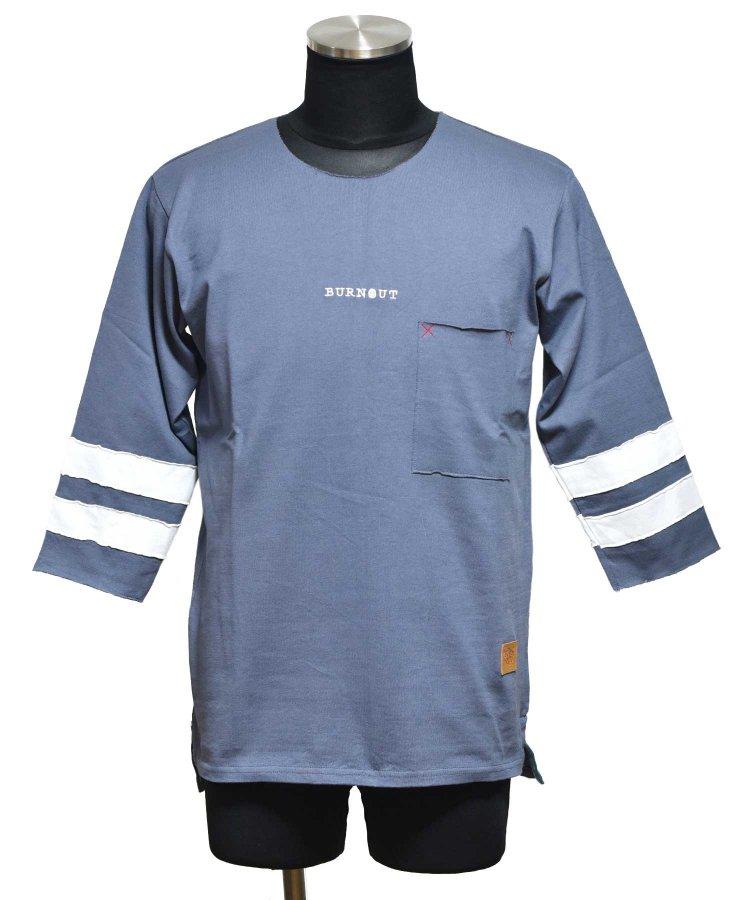 BURNOUT(バーンアウト )ポケット付き 4/3スリーブ フットボール T / ブルーグレー