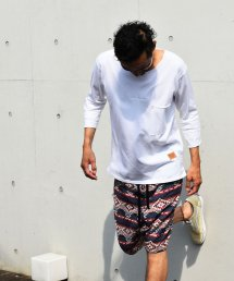 BURNOUT(バーンアウト )ポケット付き 4/3スリーブ フットボール T / ホワイト
