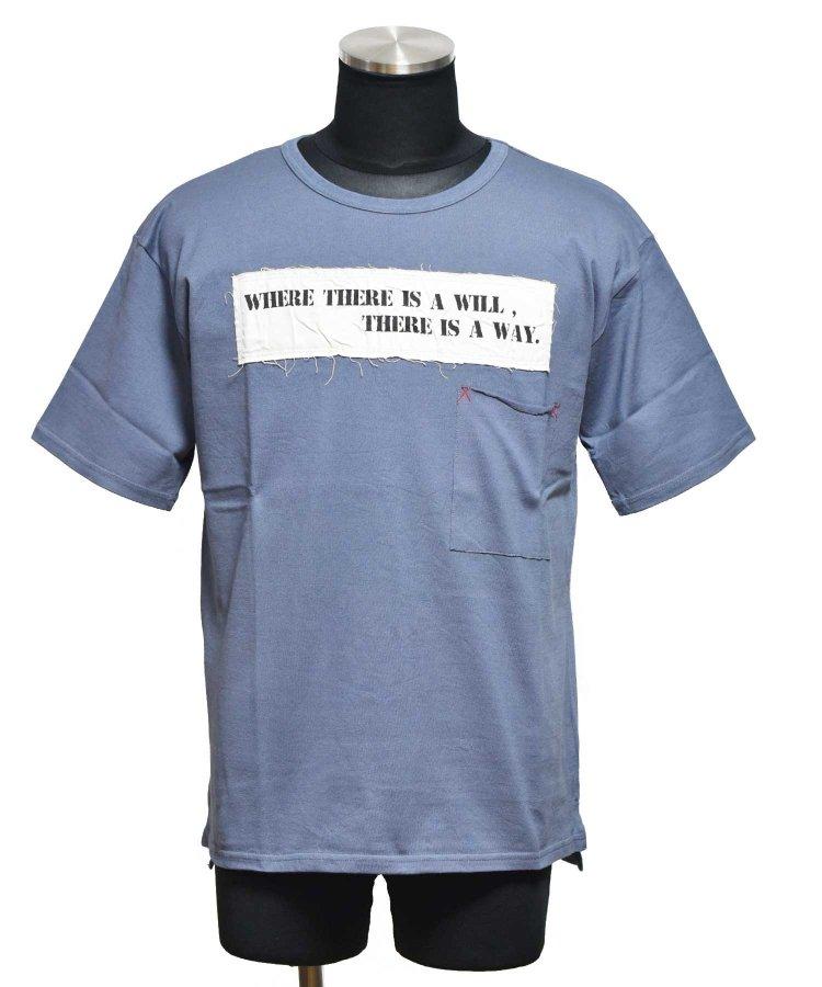 BURNOUT(バーンアウト )ポケット付き ワイドショートスリーブTシャツ / ブルーグレー