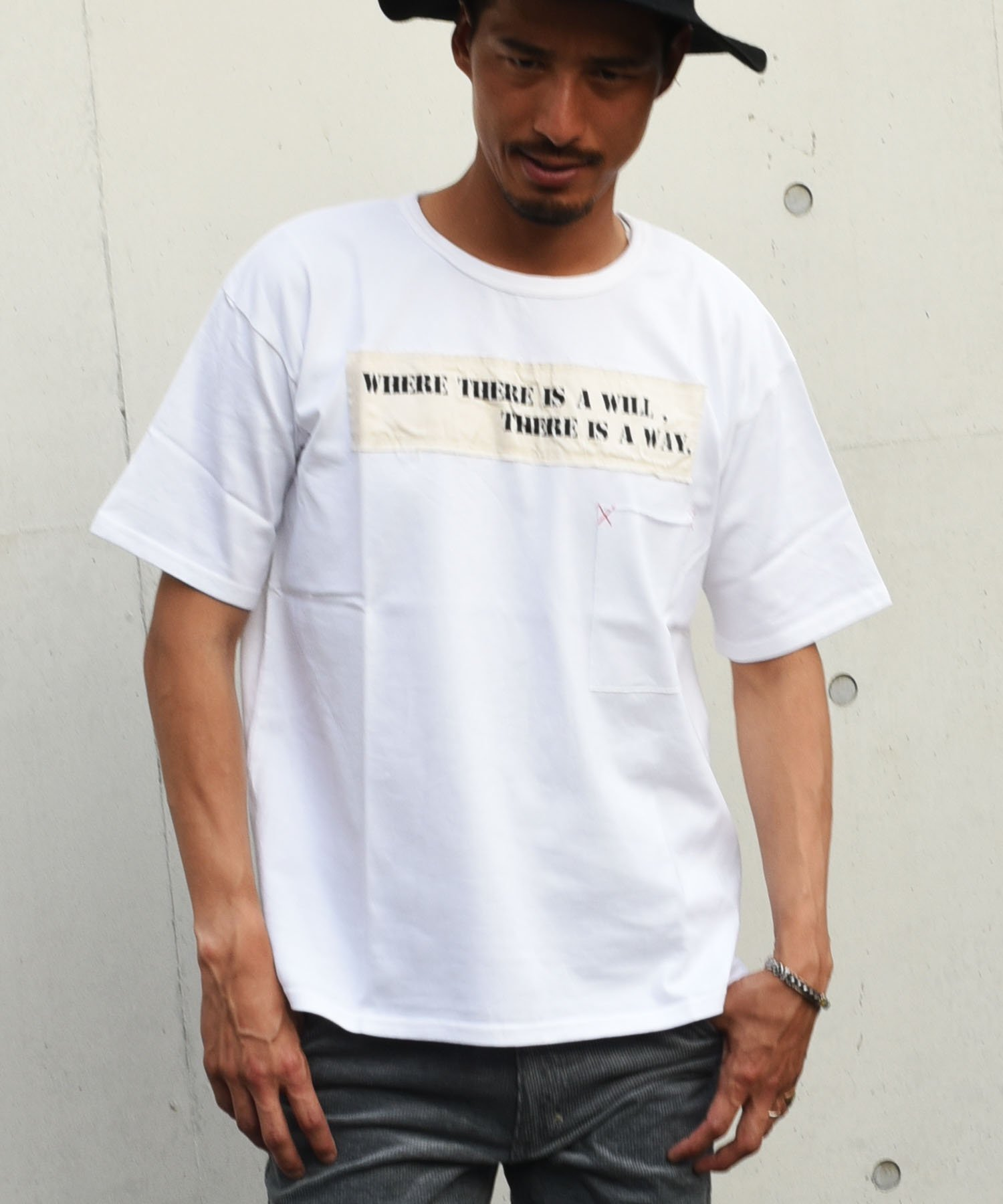 BURNOUT(バーンアウト )ポケット付き ワイドショートスリーブTシャツ / ホワイト