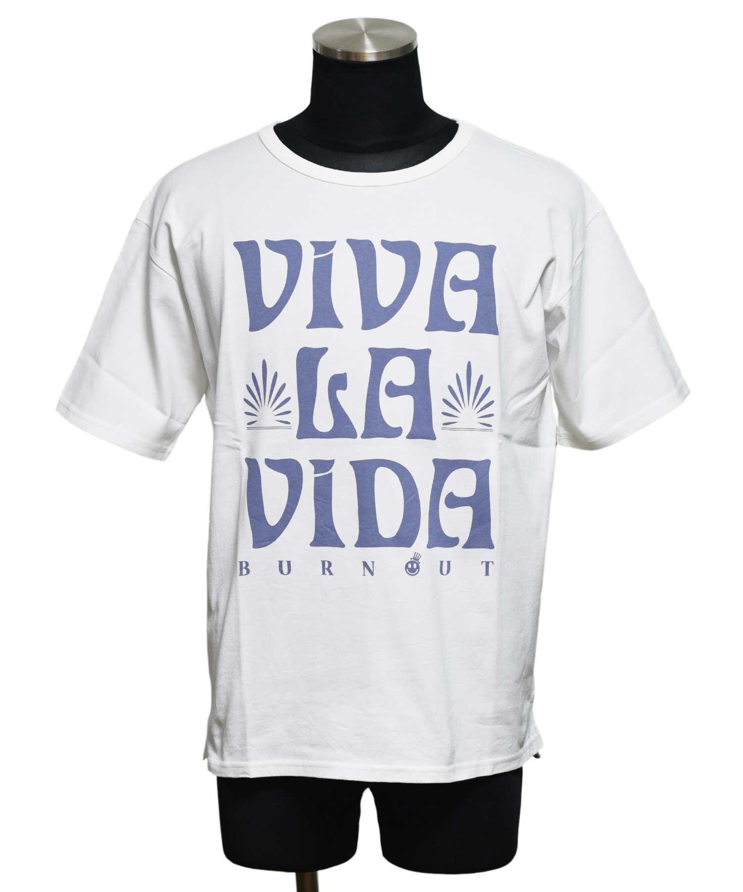 BURNOUT(バーンアウト )VIVA LA VIDA ワイドショートスリーブTシャツ / ホワイト