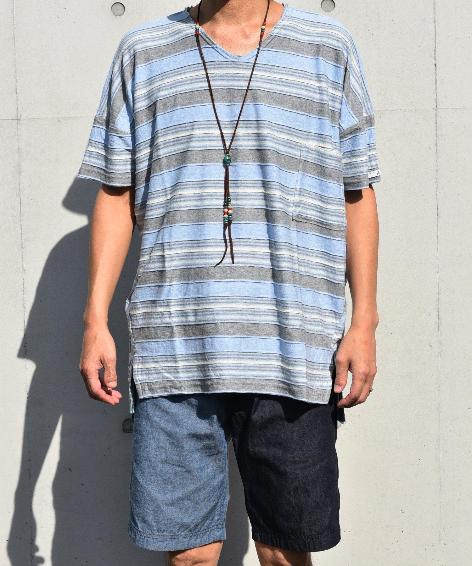 【SUMMER_CLEARANCE】Burnout〔バーンアウト〕 ビッグシルエットダウンショルダーVネック T-Shirt(Border)