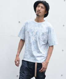 Burnout(バーンアウト )ビッグシルエット tie-dye Tee PK. Burnout print T-shirts (缶バッジ付き)/ライトグレー