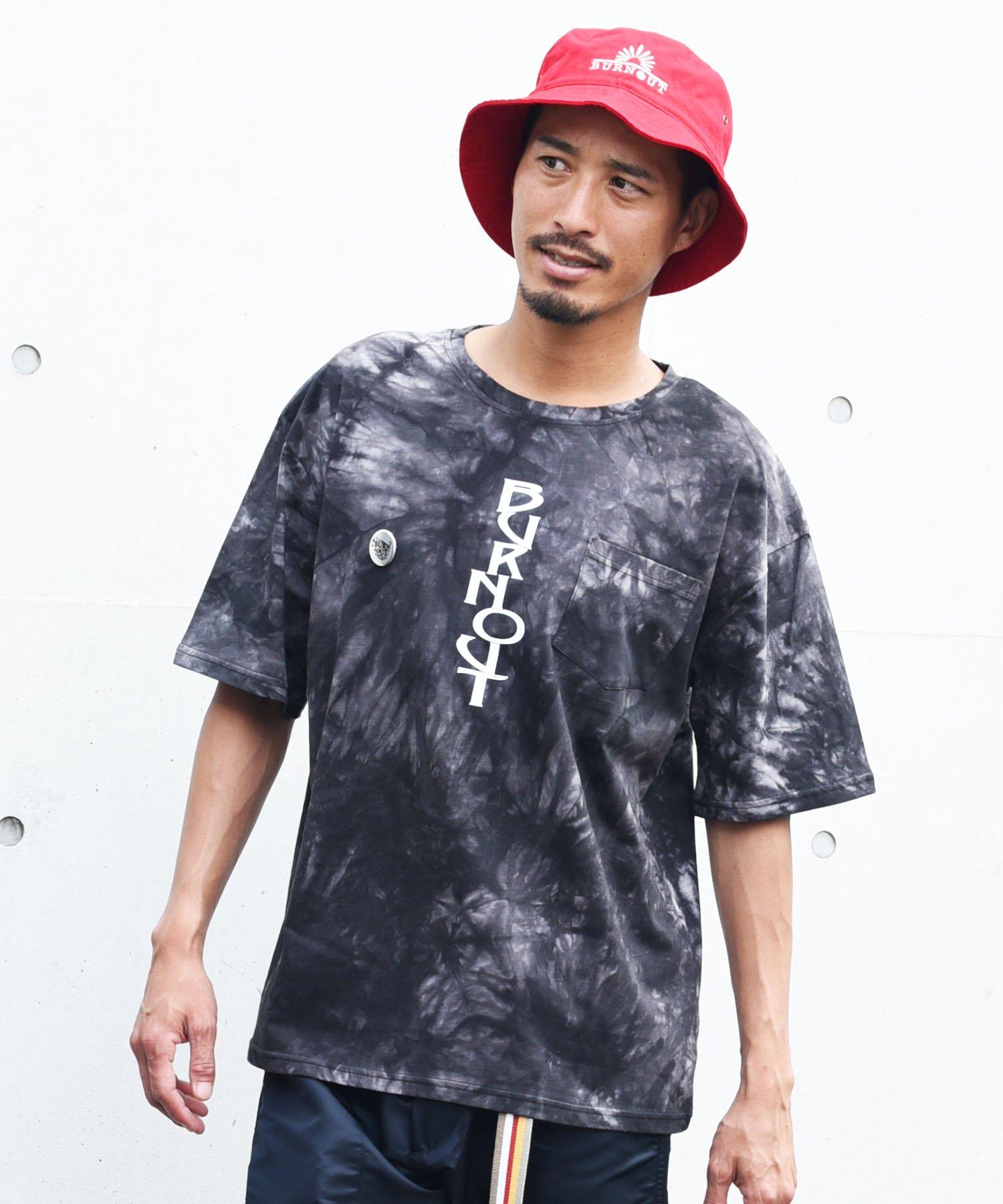 Burnout(バーンアウト )ビッグシルエット tie-dye Tee PK. Burnout print T-shirts (缶バッジ付き)/ブラック