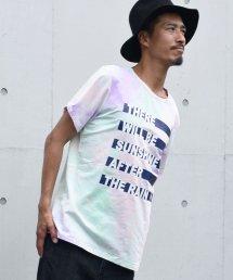 Burnout(バーンアウト )tie-dye Tee Border print T-shirts/ピンクパープル