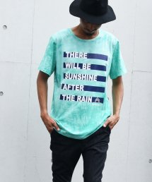 Burnout(バーンアウト )tie-dye Tee Border print T-shirts/サマーグリーン