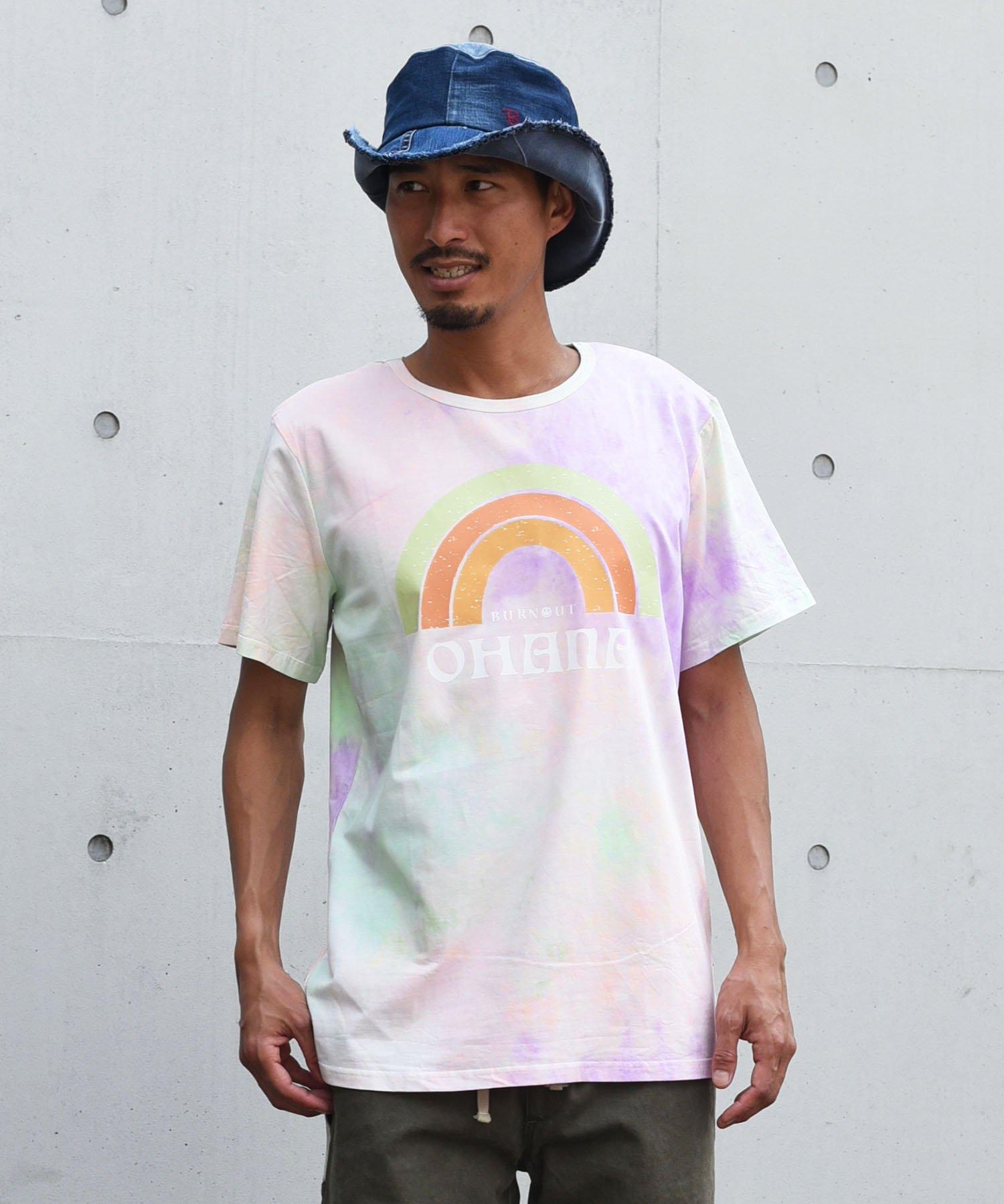 Burnout(バーンアウト )tie-dye Tee OHANA print T-shirts/ピンクパープル