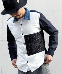 Burnout〔バーンアウト〕 刺し子ポケット クレイジーシャツ(White Mix)